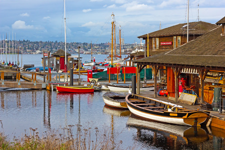 58277870 - seattle, usa march 22, 2016: center for wooden boats on lake union on march 22, 2016 in seattle, wa, usa. various boats are available for rent to paddle on the lake union.