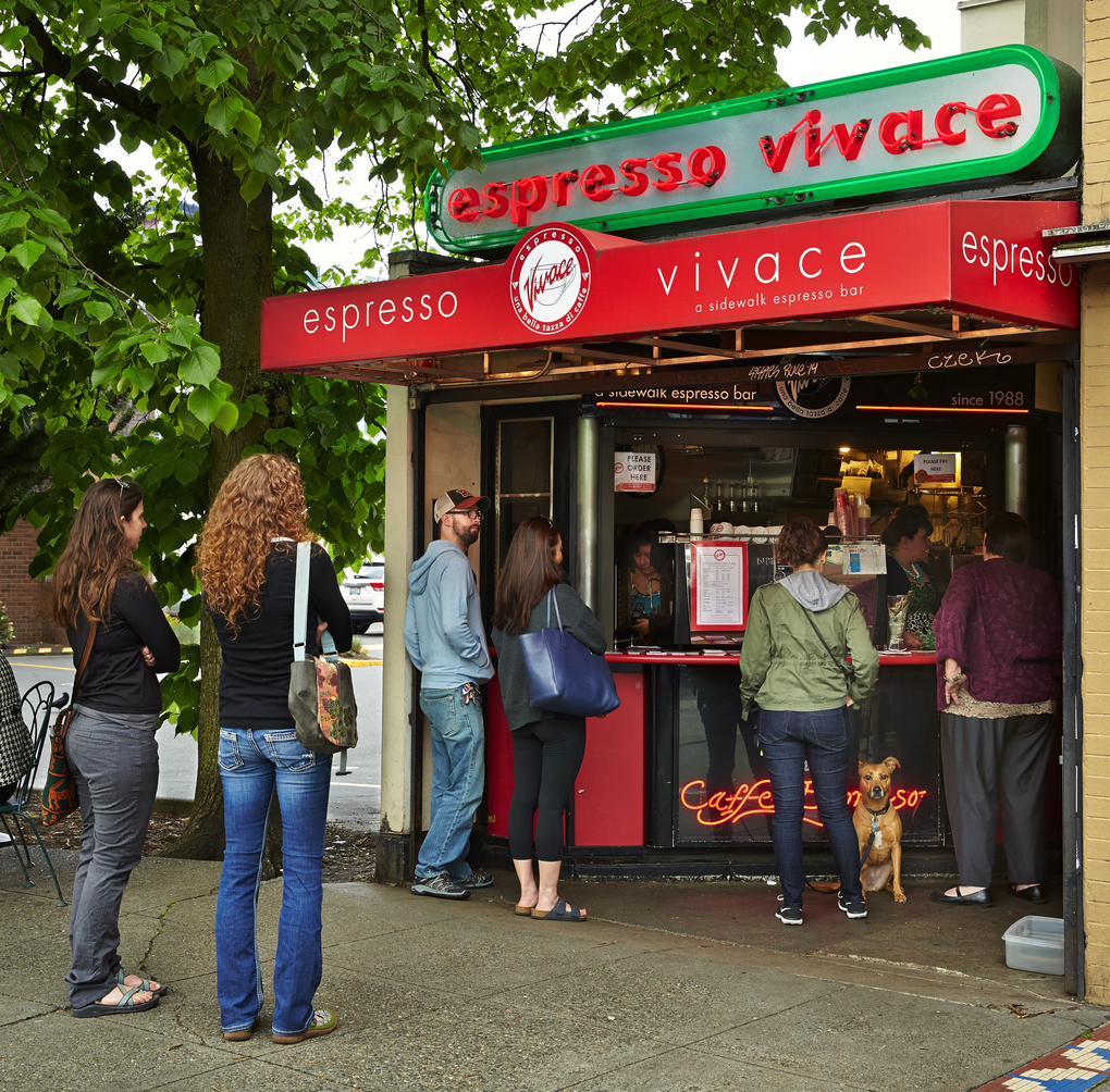 The very popular Espresso Vivace sidewalk bar on Broadway, started as a cart and is now a bit more substantial.